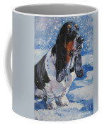 basset Hound in snow Coffee Mug by Lee Ann Shepard