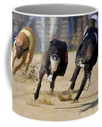 Battle Of The Racing Greyhounds At The Track Coffee Mug