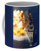Battleship Uss Iowa Firing Its Mark 7 Coffee Mug by Stocktrek Images
