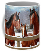 Bay Quarter Horses In Snow Coffee Mug