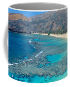 Beach And Haunama Bay, Oahu, Hawaii Coffee Mug