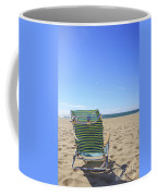 Beach Chair On A Sandy Beach Coffee Mug