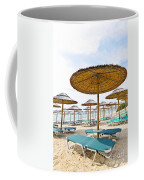 Beach Umbrellas And Chairs On Sandy Seashore Coffee Mug