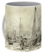 Beached Fishing Boats With Fishermen Mending Nets On The Beach At Brighton, Looking West Coffee Mug