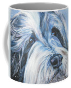 Bearded Collie Up Close In Snow Coffee Mug