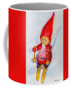 Bearded Elf On Skis Coffee Mug