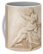 Bearded Man Embracing A Young Woman Coffee Mug