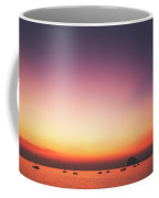 Beautiful And Serene Sunset View Over A Lagoon Bay With Couple Of Yachts And Islands In Distance Coffee Mug