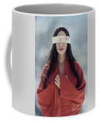 Beautiful Asian Woman With Red Sensual Lips Standing In The Snow Coffee Mug
