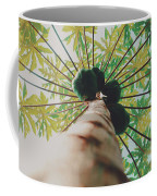 Beautiful Branches And Leaves Of Papaya Tree Along With The Tasty Exotic Fruit Fill The Frame Coffee Mug