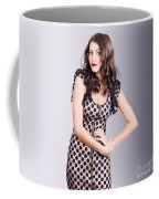 Beautiful Brunette Girl Wearing Retro Zipper Dress Coffee Mug