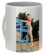 Beautiful Brunette Model At The Beach Coffee Mug