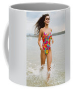 Beautiful Brunette Model On The Beach Coffee Mug