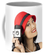 Beautiful Chinese Woman Holding Old Film Camera Coffee Mug