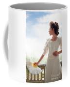 Beautiful Edwardian Woman In The Garden Coffee Mug