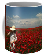 Beautiful Lady And Red Poppies Coffee Mug