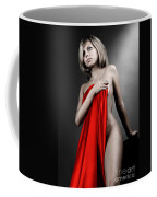 Beautiful Naked Woman Covering Herself With Red Drape Coffee Mug
