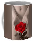 Beautiful Nude Woman Holidng Red Rose Coffee Mug