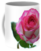 Beautiful Pink Rose With Leaves On A Wite Background. Coffee Mug