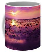 Beautiful Purple Sunset During Tide Shows Up Rocky Beach Coffee Mug
