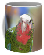 Beautiful Red Feathers On The Throat Of A Green Conure Bird Coffee Mug