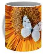 Beautiful White Butterfly On Sunflower Coffee Mug