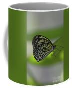 Beautiful White Tree Nymph Butterfly On  A Leaf Coffee Mug