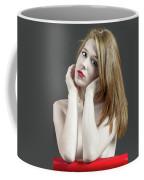 Beautiful White Woman On Red Chair Coffee Mug