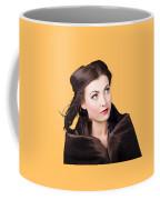 Beautiful Winter Woman Isolated On Orange Coffee Mug
