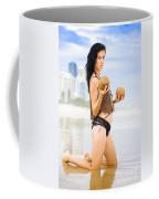 Beautiful Woman In Beach Heaven Coffee Mug