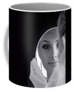 Beautiful Woman In Bridal Veil Looking At A Mirror Coffee Mug
