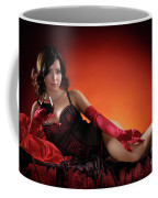 Beautiful Woman With A Glass Of Wine Coffee Mug