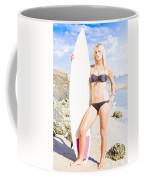 Beautiful Young Blond Surf Woman Coffee Mug