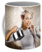 Beautiful Young Retro Woman With Cup Of Coffee Coffee Mug