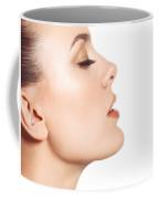 Beautiful Young Woman Face Profile Closeup Coffee Mug