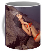 Beautiful Young Woman In Orange Bikini Coffee Mug