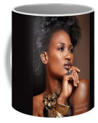 Beauty Portrait Of Black Woman Wearing Jewelry Coffee Mug