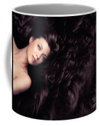 Beauty Portrait Of Woman Surrounded By Long Brown Hair  Coffee Mug