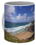 Bedruthan Steps Beach And Atlantic Surf In Summer Sun Cornwall  Coffee Mug
