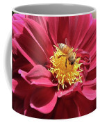 Bee On Beautiful Dahlia Coffee Mug