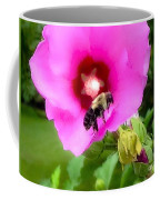 Bee On Edge Of A Hibiscus Flower Coffee Mug