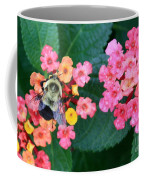 Bee On Rainy Flowers Coffee Mug