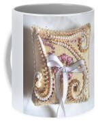 Beige-white Wedding Ring Pillow Coffee Mug
