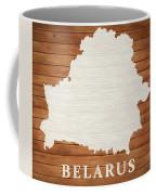 Belarus Rustic Map On Wood Coffee Mug