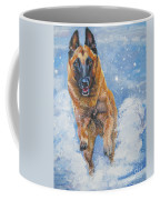 Belgian Malinois In Snow Coffee Mug