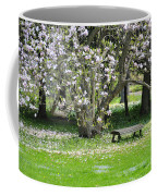Bench Among Magnolia Coffee Mug