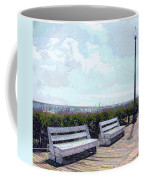 Benches Boardwalk And Lamppost 1 Coffee Mug