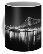 Benjamin Franklin Bridge - Black And White At Night Coffee Mug