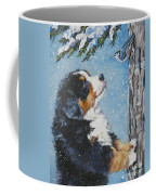 bernese Mountain Dog puppy and nuthatch Coffee Mug