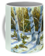 Big Birches In Winter Coffee Mug